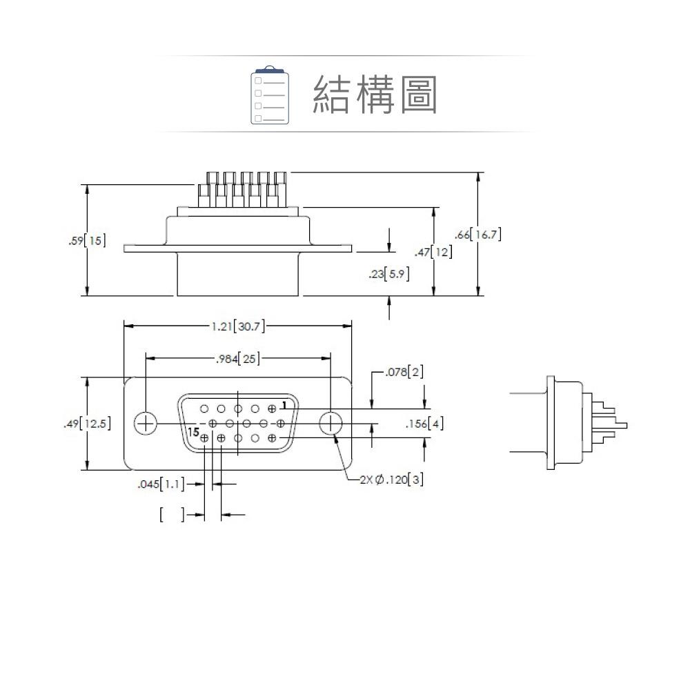 堃喬 堃邑 連接部品  PCB連接器 D型接頭 DB15連接器 DB15 15P VGA 高密度D型母接頭 三排 焊線式
