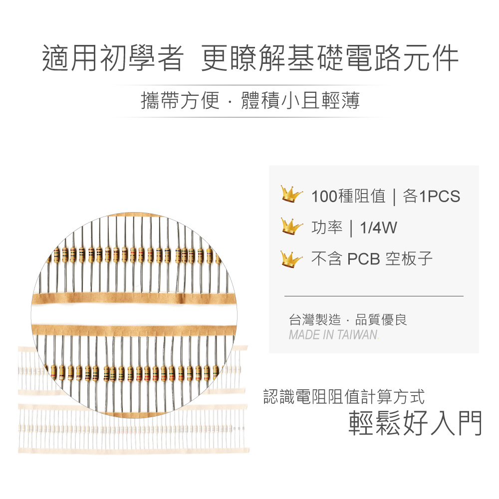 堃喬 堃邑 RN100 KT-201 1/4W 電阻 空板 電阻板 簡易 PCB
