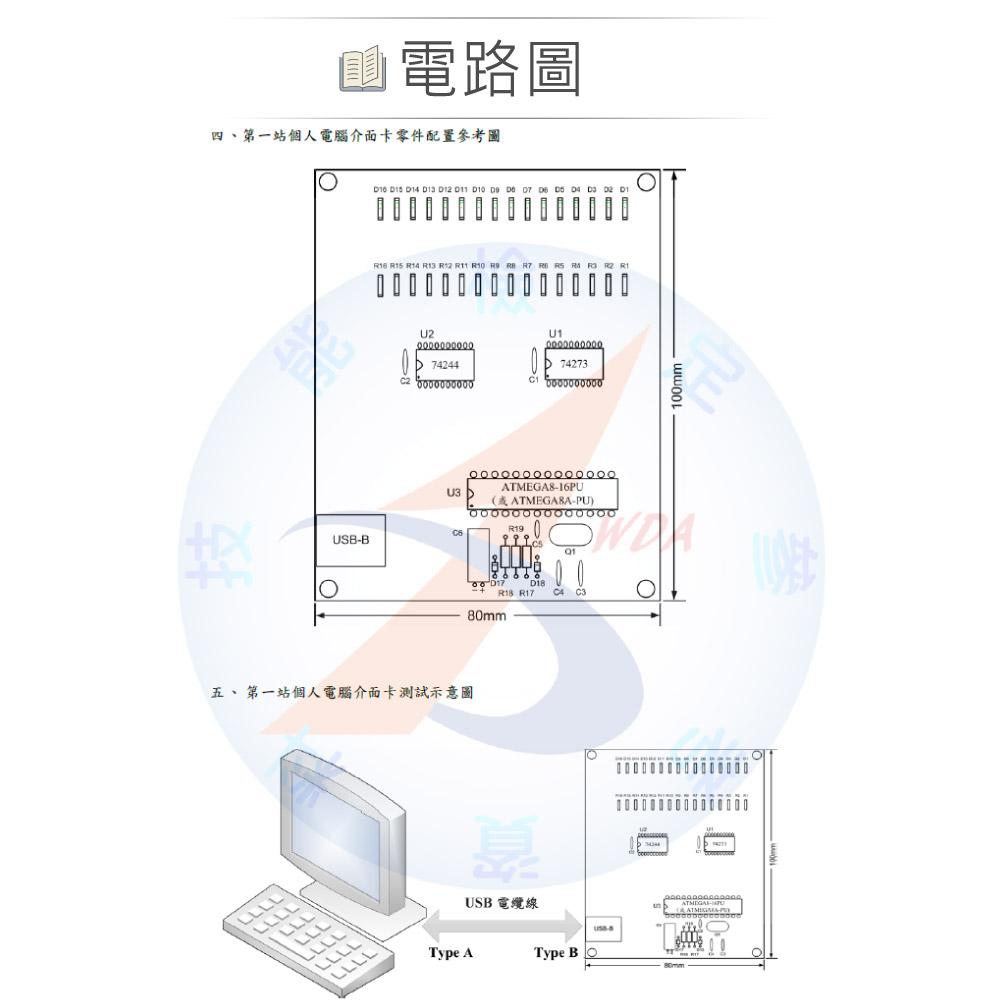 堃喬 堃邑 技能檢定 乙級 硬體裝修 偵錯卡 燈板 零件包 成品 ATMEGA8 SMD