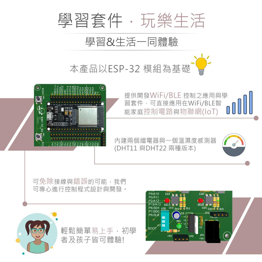 堃喬 堃邑 學校專區 教育部課綱教材專區 課綱應用專區  ESP32模組 KT ESP-32_R2 IoT物聯網的實踐家 實驗控制板