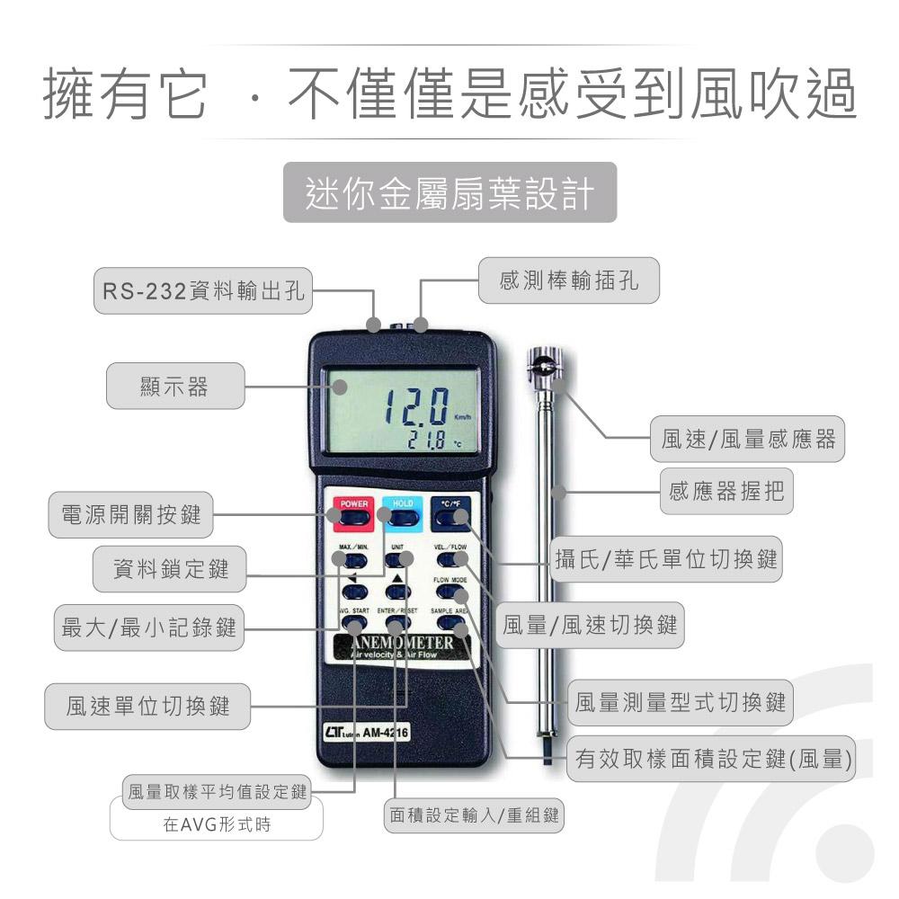 堃喬 堃邑 路昌 風速 風量 溫度 數位式 風速計 溫度計 溫濕度計 風量 Lutron AM-4216
