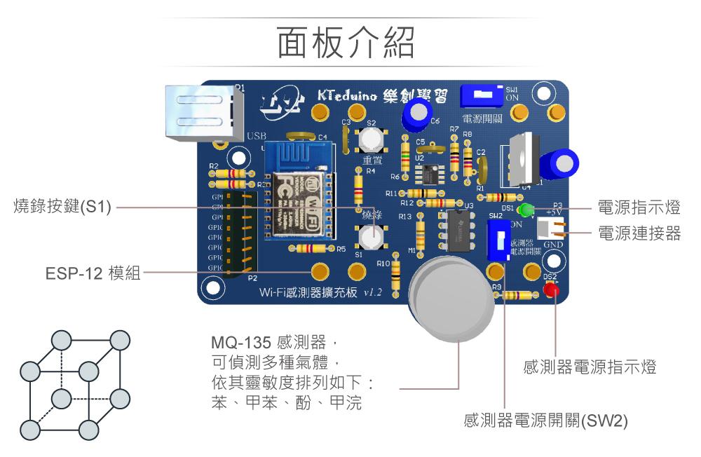 堃喬 堃邑  學校專區 NodeMCU ESP12 MQ-135 有害空氣感測器+無線網路監控實驗器