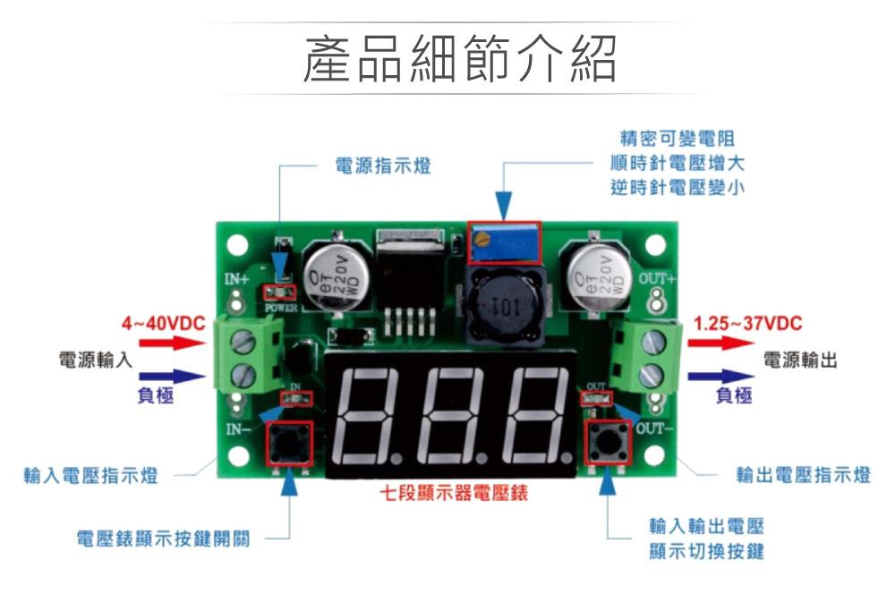 堃喬 堃邑 電源供應 升降壓模組LM2596 DC-DC數字型可調輸出電源降壓轉換模組