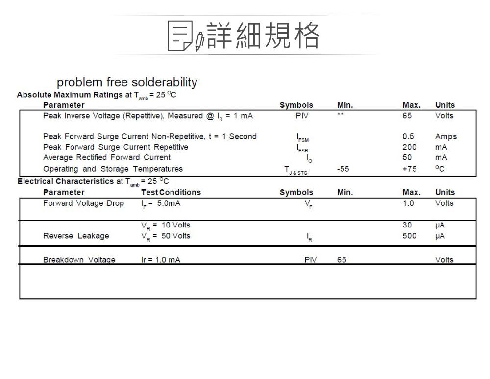 堃喬 堃邑  電子零件 二極體  普通型二極體 鍺二極體  1N34A 65V/0.5A DO-7