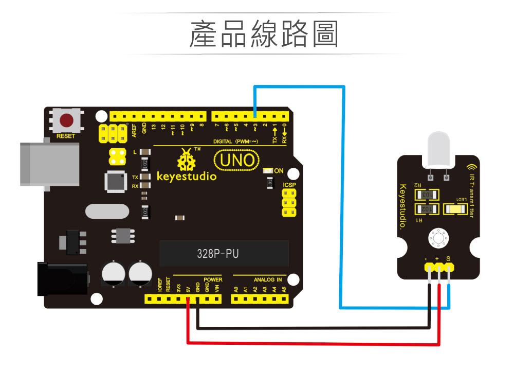 堃喬 堃邑 學校專區 品牌感測模組 紅外線發射模組 支援Arduino、micro:bit、Raspberry Pi等開發工具 適合中小學 課綱 生活科技 Keyestudio KS0027