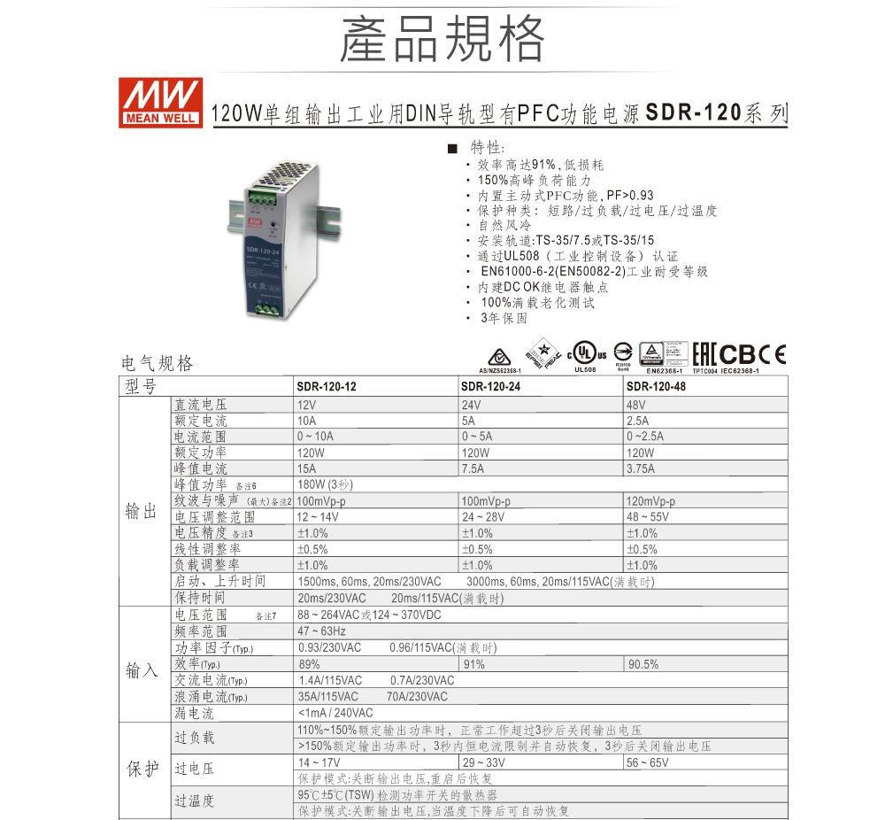 堃喬 堃邑 電源供應 軌道式電源 主動式SDR系列 MW 明緯SDR-120-12 12V軌道式單組輸出電源供應器 12V/10A/120W Meanwell