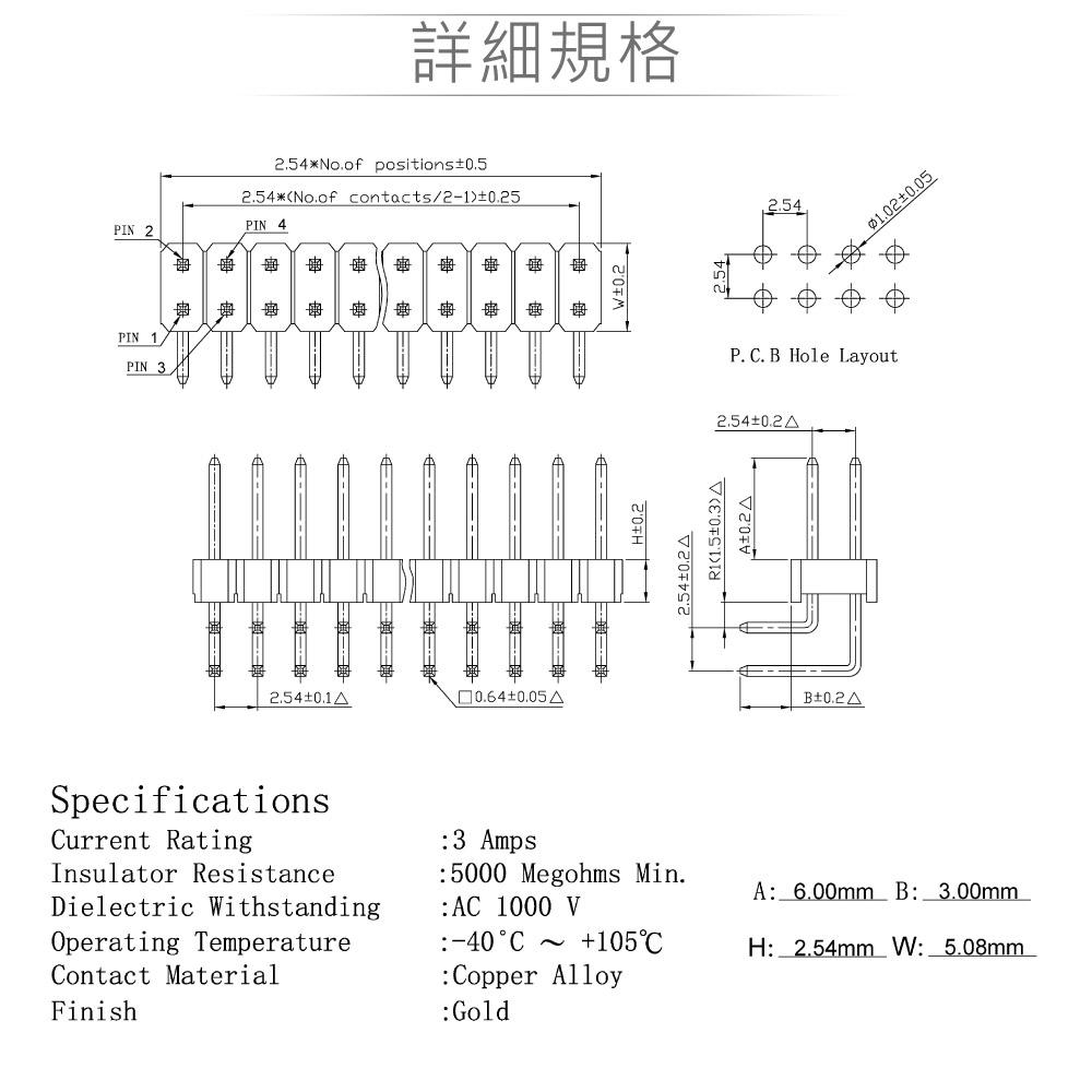 堃喬 堃邑 連接部品 PCB連接器  端子連接器  PH 2.54mm  排針連接器  2 X 40P 80P雙排排針 PinHeader 針長12mm 90°插板式 Pitch 2.54mm