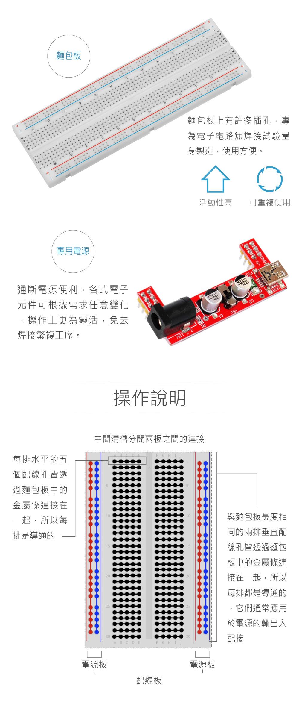 堃喬 堃邑 麵包板 端子線 組合 電子材料